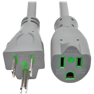 Tripp Lite 6ft Hospital Medical Power Extension Cord 5-15P 5-15R 13A Gray