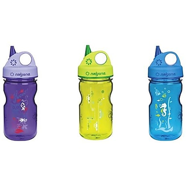 Nalgene Grip-N-Gulp Sports Bottle, Green/Blue/Purple, 3/Pack
