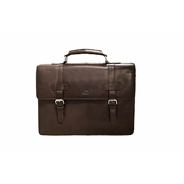 Mancini Colombian Collection Top Grain Leather Double Compartment Briefcase, Brown (98234)