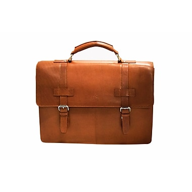 Mancini Colombian Collection Top Grain Leather Double Compartment Briefcase, Cognac (98234)