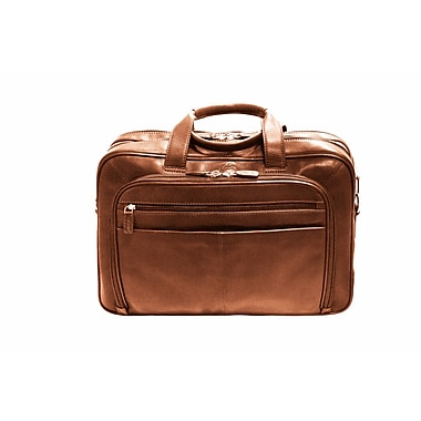 Mancini Colombian Collection Top Grain Leather Double Compartment Briefcase, Brown (98235)