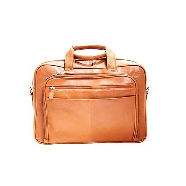 Mancini Colombian Collection Top Grain Leather Double Compartment Briefcase, Cognac (98235)