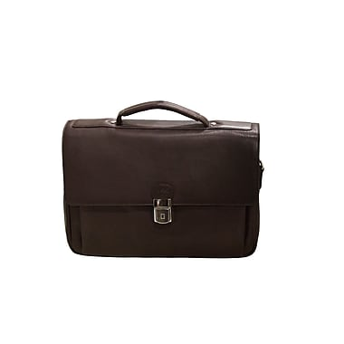 Mancini Colombian Collection Top Grain Leather Triple Compartment Briefcase, Brown