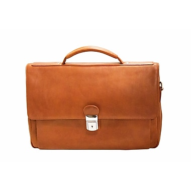 Mancini Colombian Collection Top Grain Leather Triple Compartment Briefcase, Cognac