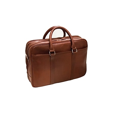 Mancini Colombian Collection Top Grain Leather Double Compartment Briefcase, Brown