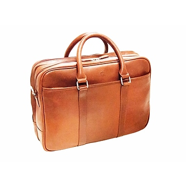 Mancini Colombian Collection Top Grain Leather Double Compartment Briefcase, Cognac