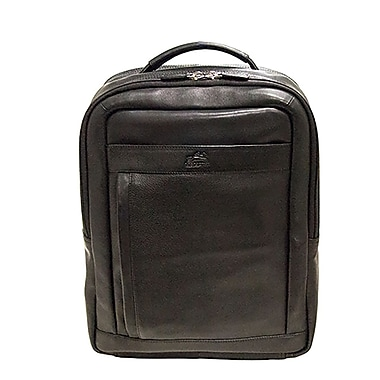 Mancini Colombian Collection Top Grain Leather Laptop/Tablet Backpack, Black