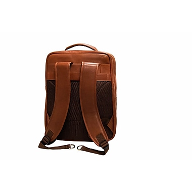 Mancini Colombian Collection Top Grain Leather Laptop/Tablet Backpack, Cognac