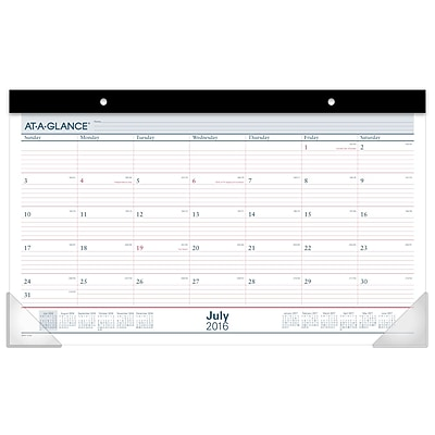 """2017-2018 AT-A-GLANCE® 17 3/4"""" x 10 7/8"""" Academic Compact Monthly Desk Pad, 12 Months July Start (SKAY15-28-18)"""