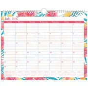 "2017-2018 Staples® 14 7/8"" x 11 7/8"" Wall Calendar, 12 Months July Start Lush Floral (50737-17)"