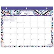 "2017-2018 Staples® 11"" x 8 1/2"" Mini Academic Monthly Desk Pad, 12 Months July Start Tribal Medallion (28846-17)"