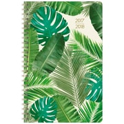 "2017-2018 Staples® 5 1/2"" x 8 1/2"" Small Academic Weekly/Monthly Planner, 14 Months July Start Banana Leaf (28855-17)"