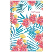 "2017-2018 Staples® 5 1/2"" x 8 1/2"" Small Academic Weekly/Monthly Planner, 14 Months July Start Tropical Floral (28853-17)"