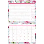 "2017-2018 Staples® 11"" x 8 1/2"" Small Academic Monthly Wall Calendar, 12 Months July Start Pink Flamingo (28852-17)"