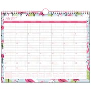 "2017-2018 Staples® 14 7/8"" x 11 7/8"" Medium Academic Monthly Wall Calendar, 12 Months July Start Pink Flamingo (27105-17)"