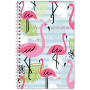 "2017-2018 Staples®  5 1/2"" x 8 1/2"" Small Academic Weekly/Monthly Planner, 14 Months July Start Pink Flamingo (23470-17)"