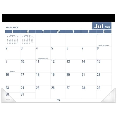 "2017-2018 AT-A-GLANCE® 22"" x 17"" Easy-to-Read Academic Monthly Desk Pad, 12 Months July Start (SKLPAY-32-18"