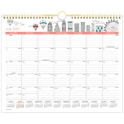 "2017-2018 AT-A-GLANCE® 15"" x 12"" Academic Monthly Wall Calendar, July 2017 - June 2018 Wirebound Paint the Town (W1017-707A-18)"