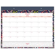 "2018 Staples® Monthly Desk Pad, 2017, 21 3/4""x17"", Floral (26249-18)"