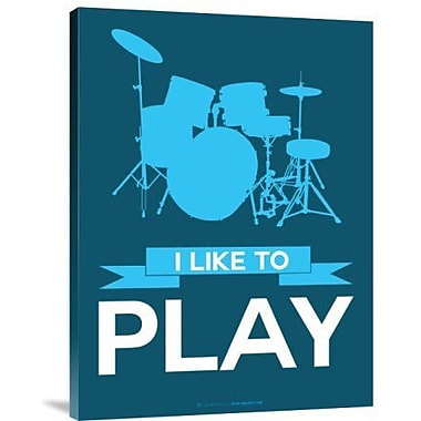 Naxart 'I Like to Play 4' Graphic Art Print on Canvas in Blue; 24'' H x 18'' W x 1.5'' D