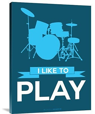 Naxart 'I Like to Play 4' Graphic Art Print on Canvas in Blue; 32'' H x 24'' W x 1.5'' D