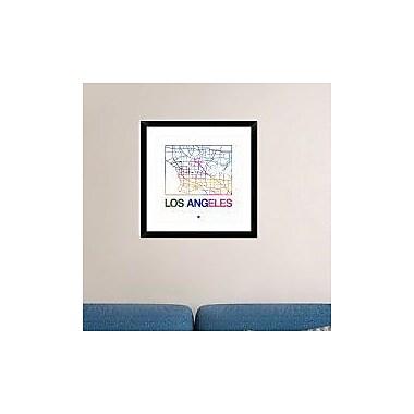 Naxart 'Los Angeles Watercolor Street Map' Framed Graphic Art Print; 24'' H x 24'' W x 1.5'' D