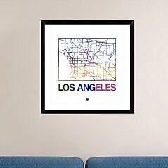 Naxart 'Los Angeles Watercolor Street Map' Framed Graphic Art Print; 30'' H x 30'' W x 1.5'' D