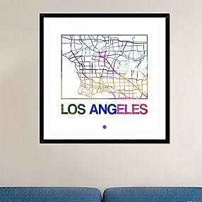 Naxart 'Los Angeles Watercolor Street Map' Framed Graphic Art Print; 42'' H x 42'' W x 1.5'' D