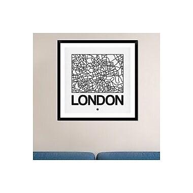 Naxart 'White Map of London' Framed Graphic Art Print; 36'' H x 36'' W x 1.5'' D