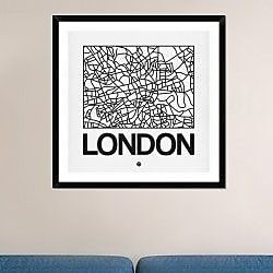Naxart 'White Map of London' Framed Graphic Art Print; 36'' H x 36'' W x 1.5'' D