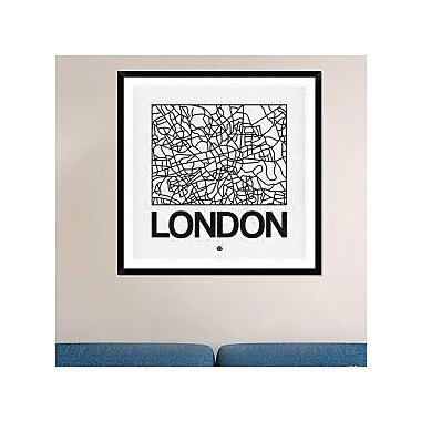Naxart 'White Map of London' Framed Graphic Art Print; 42'' H x 42'' W x 1.5'' D