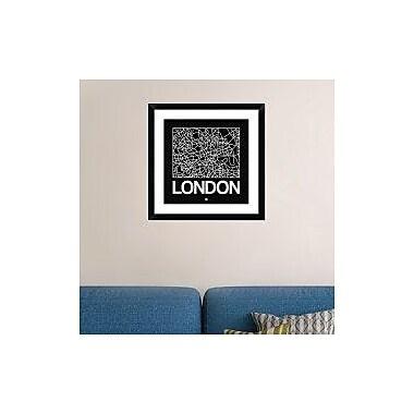 Naxart 'Black Map of London' Framed Graphic Art Print; 24'' H x 24'' W x 1.5'' D
