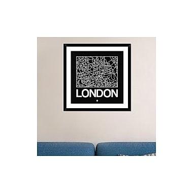 Naxart 'Black Map of London' Framed Graphic Art Print; 30'' H x 30'' W x 1.5'' D