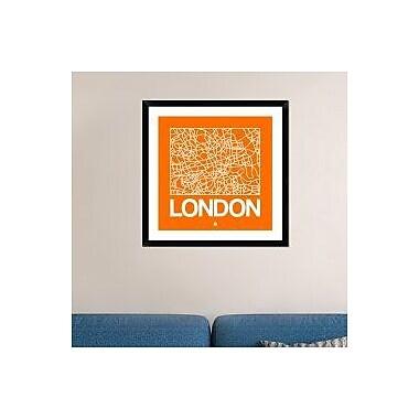 Naxart 'Orange Map of London' Framed Graphic Art Print; 30'' H x 30'' W x 1.5'' D