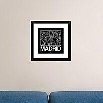 Naxart 'Black Map of Madrid' Framed Graphic Art Print; 18'' H x 18'' W x 1.5'' D