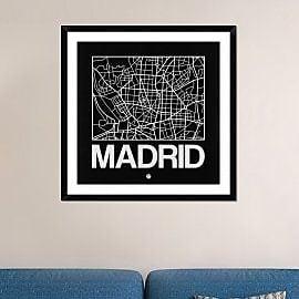 Naxart 'Black Map of Madrid' Framed Graphic Art Print; 36'' H x 36'' W x 1.5'' D