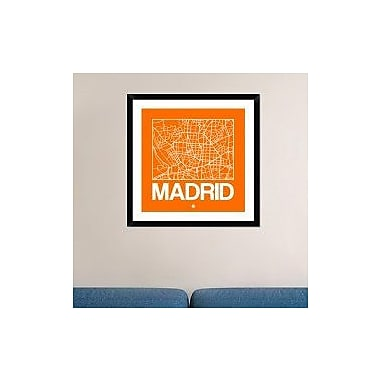 Naxart 'Orange Map of Madrid' Framed Graphic Art Print; 30'' H x 30'' W x 1.5'' D