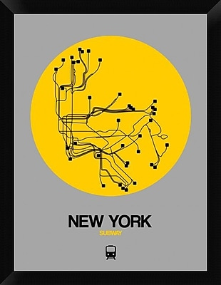 Naxart 'New York Yellow Subway Map' Framed Graphic Art Print on Canvas; 26'' H x 20'' W x 1.5'' D