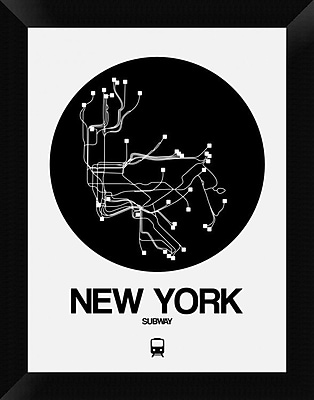 Naxart 'New York Black Subway Map' Framed Graphic Art Print on Canvas; 18'' H x 14'' W x 1.5'' D