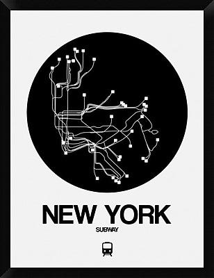 Naxart 'New York Black Subway Map' Framed Graphic Art Print on Canvas; 34'' H x 26'' W x 1.5'' D