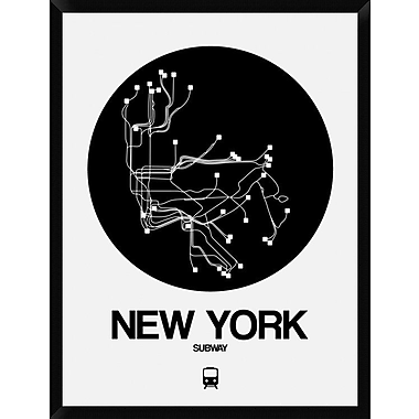 Naxart 'New York Black Subway Map' Framed Graphic Art Print on Canvas; 42'' H x 32'' W x 1.5'' D