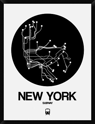 Naxart 'New York Black Subway Map' Framed Graphic Art Print on Canvas; 42'' H x 32'' W x 1.5'' D