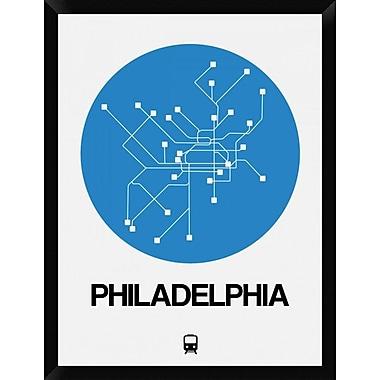Naxart 'Philadelphia Blue Subway Map' Framed Graphic Art Print on Canvas; 34'' H x 26'' W x 1.5'' D