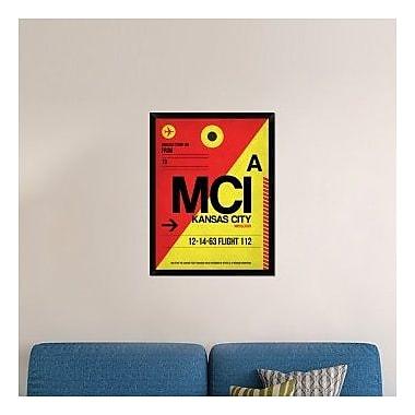 Naxart 'MCI Kansas City Luggage tag I' Framed Graphic Art Print on Canvas; 34'' H x 26'' W x 1.5'' D