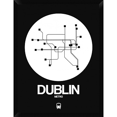 Naxart 'Dublin White Subway Map' Framed Graphic Art Print on Canvas; 34'' H x 26'' W x 1.5'' D