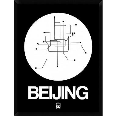 Naxart 'Beijing White Subway Map' Framed Graphic Art Print on Canvas; 42'' H x 32'' W x 1.5'' D