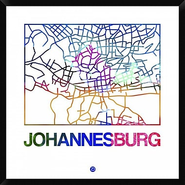 Naxart 'Johannesburg Watercolor Street Map' Framed Graphic Art Print on Canvas