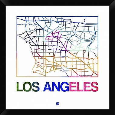 Naxart 'Los Angeles Watercolor Street Map' Framed Graphic Art Print on Canvas