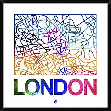 Naxart 'London Watercolor Street Map' Framed Graphic Art Print on Canvas; 42'' H x 42'' W x 1.5'' D