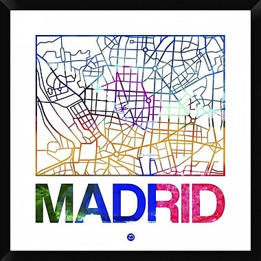 Naxart 'Madrid Watercolor Street Map' Framed Graphic Art Print on Canvas; 32'' H x 32'' W x 1.5'' D